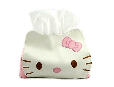 New 1pcs Hello Kitty PU Leather Tissue Case Napkin Paper Holder Cover Soft
