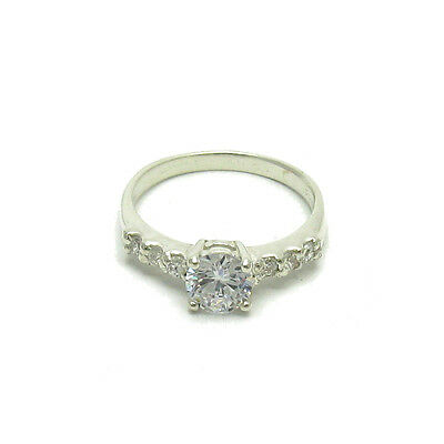 STYLISH STERLING SILVER RING SOLID 925 6mm CZ EMPRESS R000523