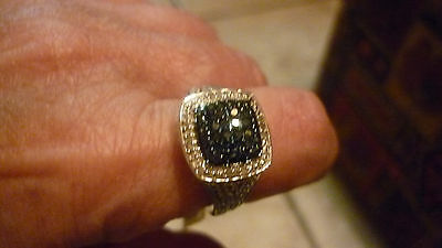 STERLING SILVER DIAMOND ACCENT BLUE & WHITE RING SIZE 8  (LIQUIDATION)