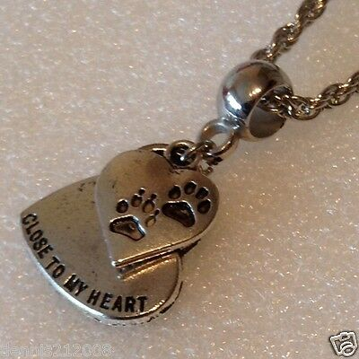 Pet Loss Cat Dog Memorial 'Paw Prints on my Heart necklace with charms CN101