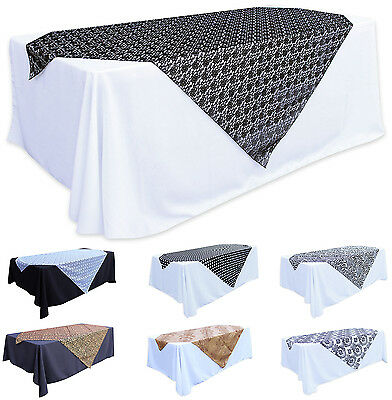 """Table Overlay Party Cloth Wedding Linen 60""""X58"""" Lace Zebra Leopard Damask New"""