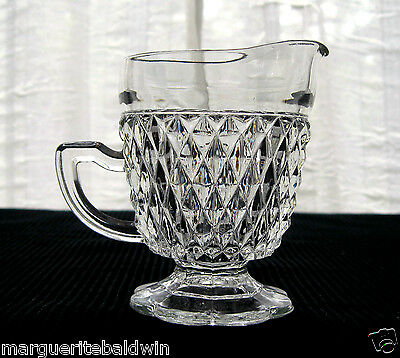 Indiana Glass Clear Diamond Point Footed Creamer Pitcher