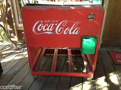 1939 Coca-Cola Westinghouse Standard Cooler WIth Cap Catcher - Iced Coke Bottles