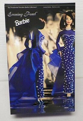 MATTEL PRESIDENTIAL PORCELAIN BARBIE COLLECTION EVENING PEARL LTD ED NIB 1995