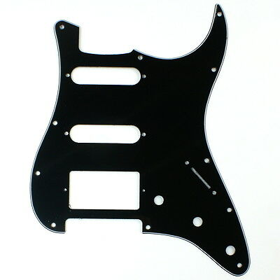 (A44) Stratocaster Strat HSS style guitar pickguard, 3ply Squared Black