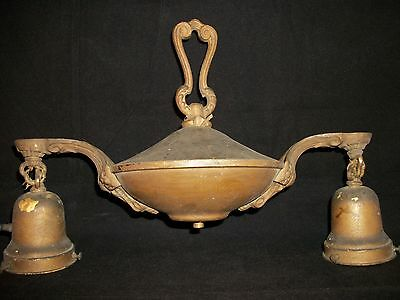 Antique Art Deco Chandelier Ceiling Light Fixture Nouveau PAN 2 Socket Vtg Brass