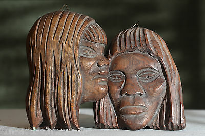 VINTAGE Hand Carved WOOD Pacific Islanders Face Sculpture Wall Art Plaques