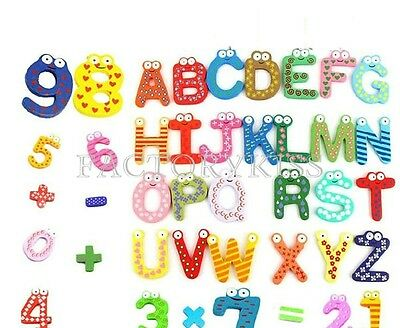 Colourful Wooden Magnetic Numbers Alphabet Letters Fridge Magnet Sticker Toy FKS
