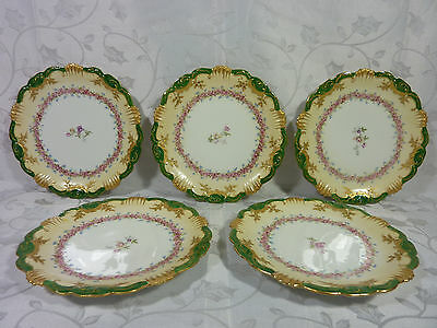 """Antique LBH & COIFFE Limoges 7 1/8"""" DESSERT PLATES  Hand painted Raised Gold"""
