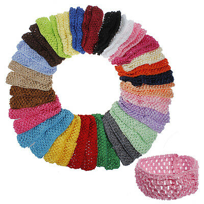US Lot Of 50 Baby Girls Crochet Stretchy Hair Headband Hairband Assorted Colors