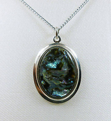 """Vintage Handmade/Carved 18x13mm Abalone in 23x18mm Oval 18"""" Necklace W30"""