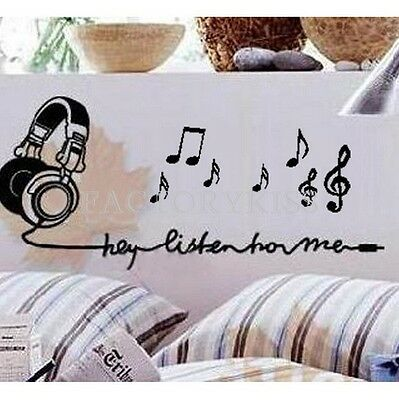 Removable Listen Music Notes Wall Sticker Vinyl Decal Home Decor FKS
