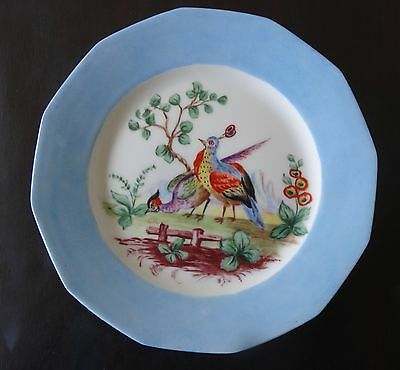 LIMOGES RARE VINTAGE FRANCE PORCELAIN PLATE PEACOCKS in the GARDEN hand painted