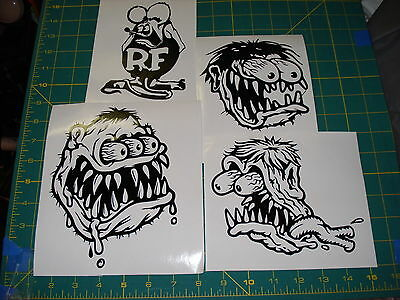 Lot 4 Rat Fink Ed Big Daddy Roth Vinyl Decal Stickers Large Car Truck Bumper