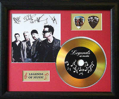 U2 Preprinted Autograph, Gold Disc & Plectrum Presentation
