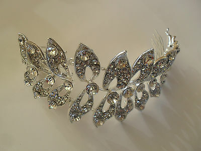 Diamante Crystal Wrap Wedding Bridal Head Piece Side Hair Comb Headband Tiara