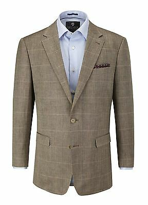 """Skopes Andrew Linen Blend Brown Window Check Jacket,chest 40-62"""",s/r/l Fitting"""