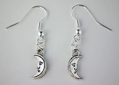 Tibetan Silver Half Moon Drop Dangle Hook Earrings + Bag Gothic Wicca Pagan