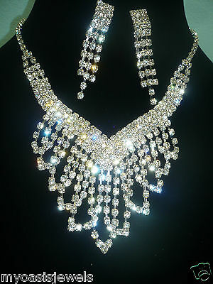 Rhinestone Austrian Crystal Choker Necklace Earring Prom Pageant Bridal Evening