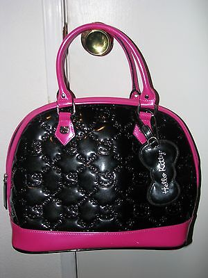 HELLO KITTY Loungefly Black and Hot Pink Embossed Purse - Used/Great Condition