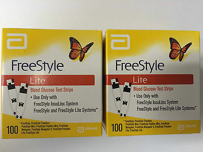 Freestyle Lite Blood Glucose 200 Test Strips (2 Boxes Of 100 Count)Exp: 06/2016