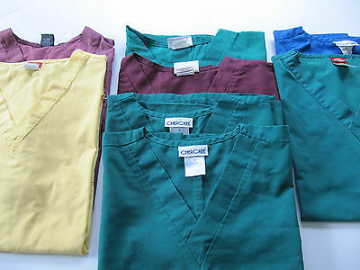Lot Of 8 Scrub Tops  Size Medium  Unisex 2 Without Chest Pockets 6 With (Box 233