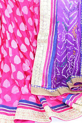 Shaded Raspebrry Pink Brocade Purple Bhandani Block Print Saree