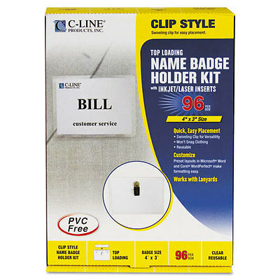 C-Line 95596 Top Load Name Badge Holders - Clip Style - 96 Count Box - New