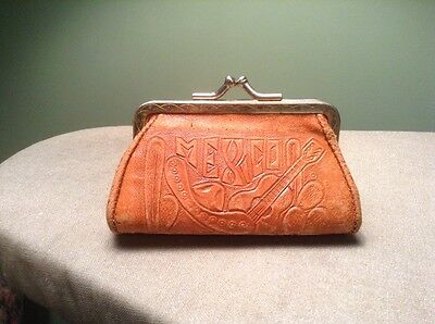 Vintage Leather Hand Tooled Mexico framed Kiss Lock Coin Change Purse