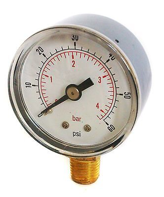 Pressure Gauge 40mm Dial 0/60 PSI & 0/4 Bar 1/8 BSPT BOTTOM and/or Hose Tails
