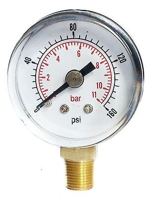 Pressure Gauge 40mm Dial 0/160 PSI & 0/11 Bar 1/8 BSPT BOTTOM and/orHose Tails