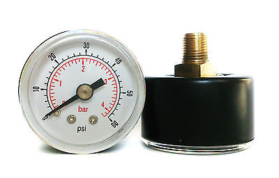 Pressure Gauge 40mm Dial 0/60 PSI & 0/4 Bar 1/8 BSPT Back. and/or Hose Tails