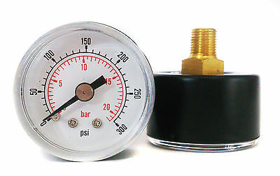Pressure Gauge 40mm Dial 0/300 PSI & 0/20 Bar 1/8 BSPT Back. and/or Hose Tails