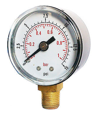 Pressure Gauge 50mm Dial 0/15 PSI & 0/1 Bar 1/4 BSPT BOTTOM and/or Hose Tails