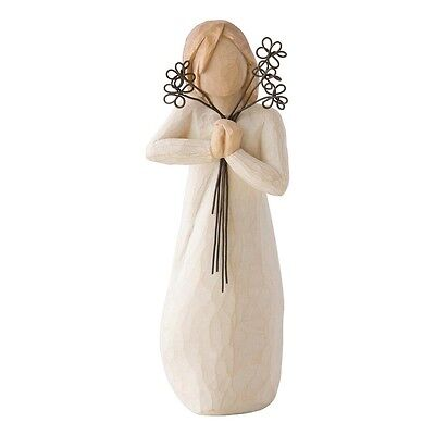 New & Boxed Willow Tree Figurine holding Metal Flowers 'Friendship' #26155