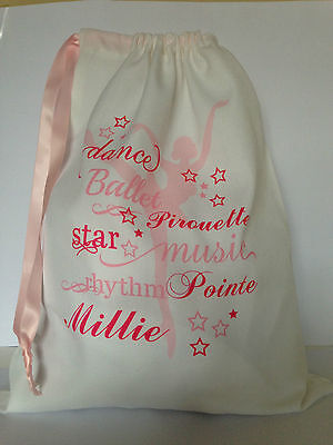 Personalised Ballet, Dance Bag 35cm x 40cm 100% cotton Gift any name