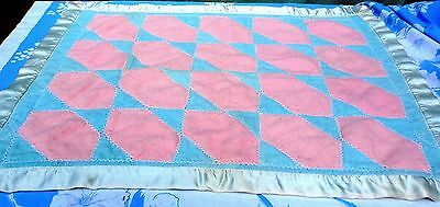 Quilted Baby Blanket Doll Crib Pink blue Hand stitched Cotton Flannel 32x24