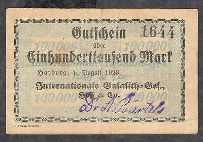 HARBURG - Internationale Galalith-Ges. - 100.000 Mark v. 1.08.1923