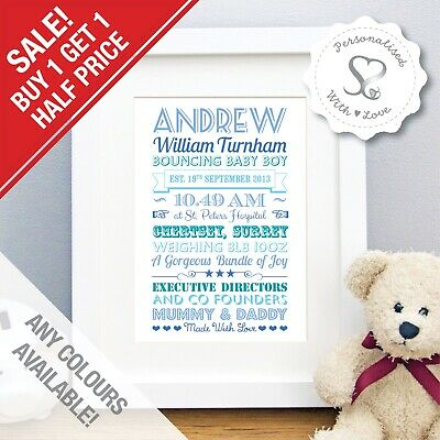 Personalised New Baby Picture Birth Details Print Word Art Christening Gift