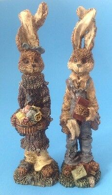 "2 Bunny Rabbits w Twisted Ears Figurines Resin Boy Girl Boyds Bears? 8.5"" Tall"