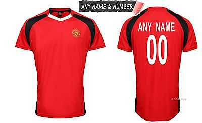 Personalised Kids Manchester United Fc Official Football T Shirt Genuine Top