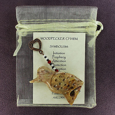 WOODPECKER TOTEM SOAPSTONE CHARM Amulet Talisman Bird Magick Symbol Attraction