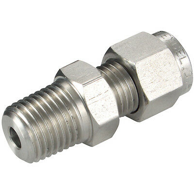 """316 STAINLESS STEEL COMPRESSION FITTINGS - 06MM OD X 1/4"""" NPT MALE STUD (L) 316"""