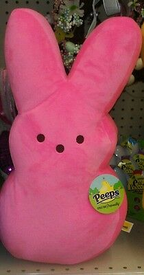 "Peeps Marshmallow Stuffed Plush Large 17"" Toy Doll Basket Pink Bunny NWT EASTER"