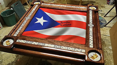Puerto Rican Flag Domino Table With Custom Cup Holders By