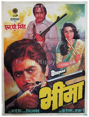Bheema 1984  original old vintage hand painted Bollywood movie poster from India