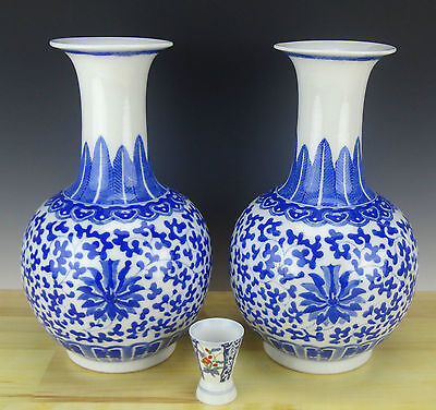 Chinese Porcelain Pair of Blue & White Vase Thinly Potted Jingdezhen Mk 20th c.