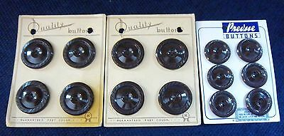 "VINTAGE ANTIQUE SET OF 8 1 1/4"" AND 6 1"" MATCHING BROWN BUTTONS ON ORIGINAL CARD"