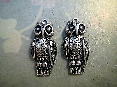 2 Oxidized Silver Plated Brass Owl Head Charm Stampings SOS8241
