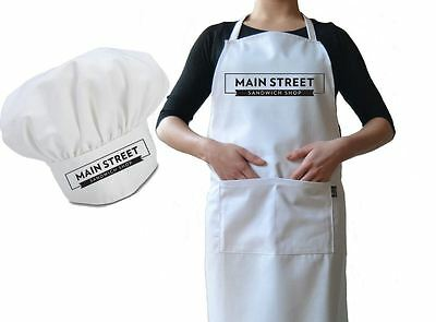 Personalised Cafe Business Chef Hat And Apron Set, Drill Cotton, Professional